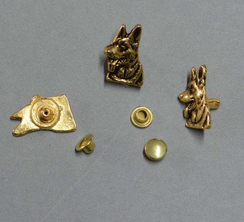 Zierniete Schäferhund-Kopf 20mm altgold