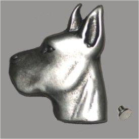 Zierniete Dogge-Kopf 39mm altplatin