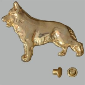 Zierniete Schäferhund 30mm vergoldet
