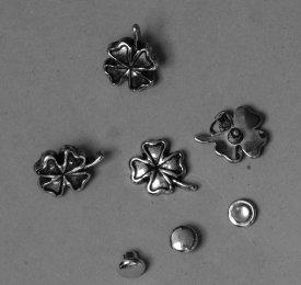 Zierniete Glücksklee 9,5mm altplatin