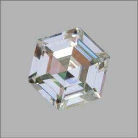 Messing Strassknopf 6-Eck platin crystall mit Swarovski® Faconstein
