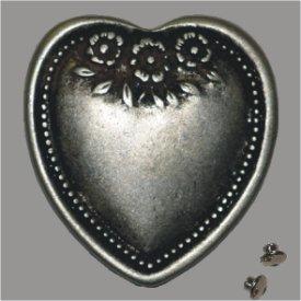 Zierniete Herz 43mm altsilber
