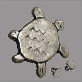 Zierniete Glücksschildkröte 24x22mm altsilber